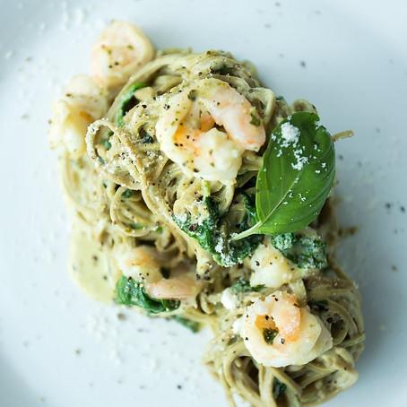 Organic Creamy Edamame King Prawns Spaghetti