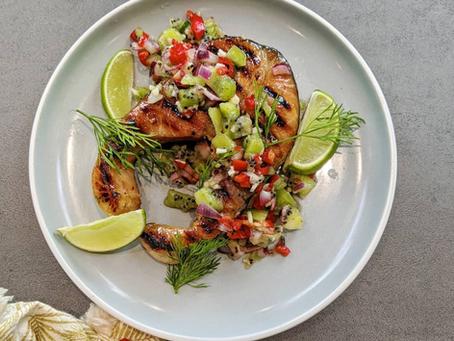 Sweet Grilled Salmon with Kiwi Salsa