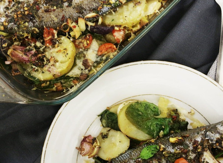 Sea bass Spanish Potato and Spinach Bake