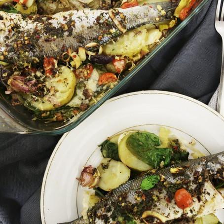 Sea bass Spanish Potato and Spinach Bake