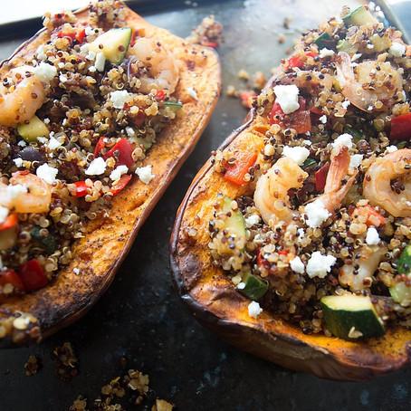 Organic Stir Fried King Prawn Quinoa served in Butternut Squash