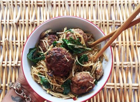 Turkey Balls and Kale Rice Noodles