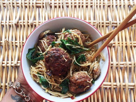 Turkey Balls and Kale Rice Noodles