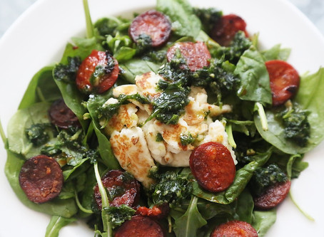 Chorizo and Halloumi Salad with Homemade Pesto Salad Dressing