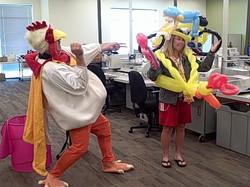 Super Chicken Denver Singing Telegram Denver balloon delivery Aurora bike bicycl