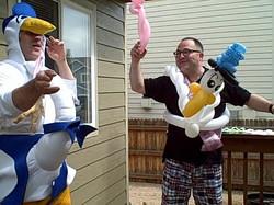 The I am pregnant Denver Singing Telegram Stork and balloon delivery adult enter
