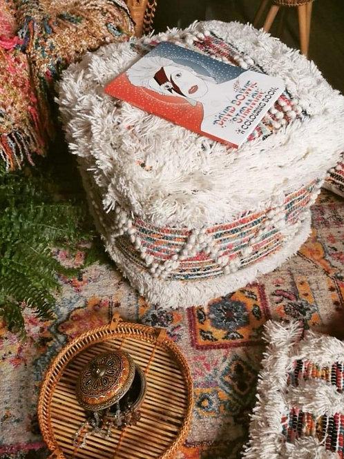 White/Multi wool Pouffe