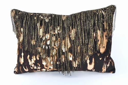 Colette velvet cushion in leopard black