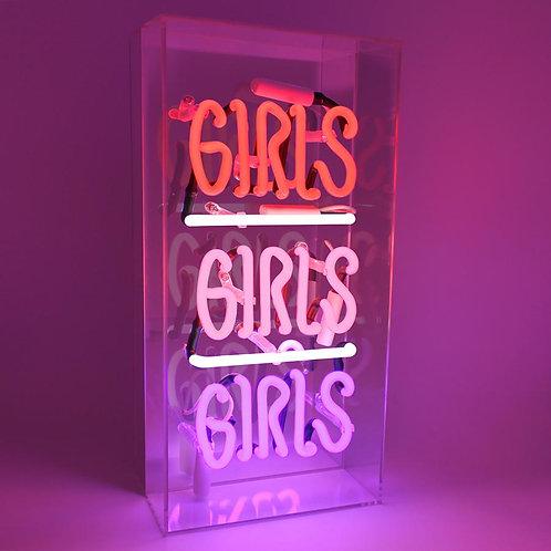"""Girls Girls Girls"" Acrylic Box Neon Light"