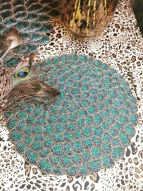Artisan Made Beaded Peacock Placemat
