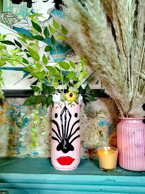 Pretty Pink Zebra Vase