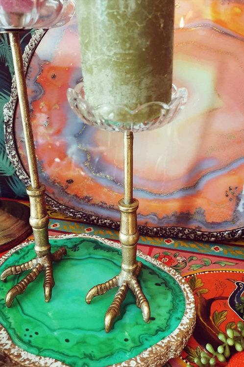 Medium Antique Gold Claw Candle Holder