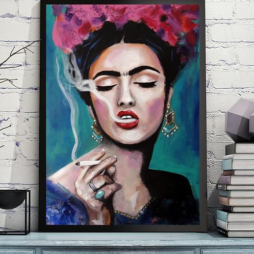 """Smoking Frida"" Art Print by Marta Hutt"