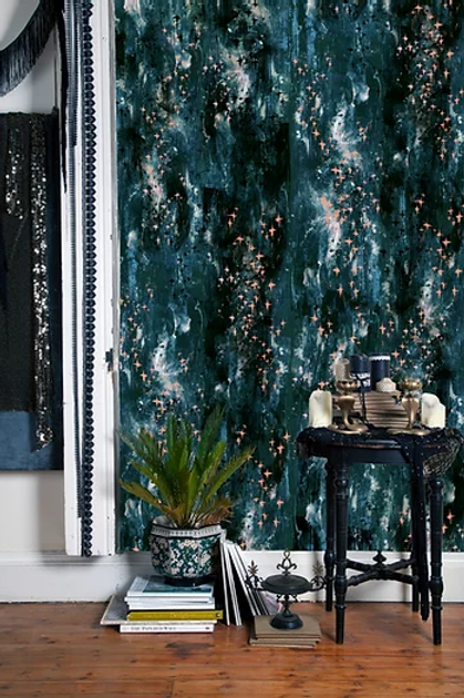 Bardot wallpaper in electric blue