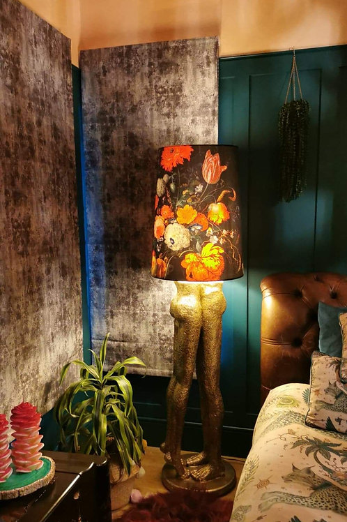 Antique Gold Lovers Floor Lamp with Floral Velvet Shade