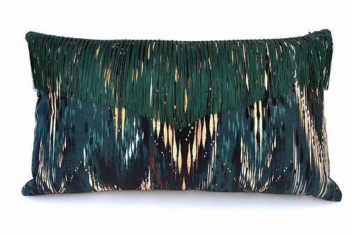 Thea velvet cushion in palm green