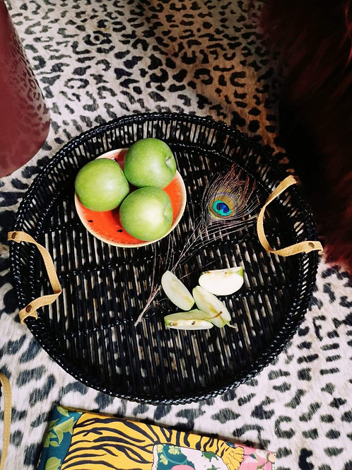 Black Bamboo Trays (Set of Two)