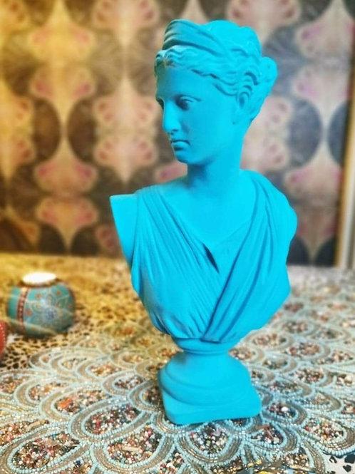 Bright Blue Flock Artemis Bust