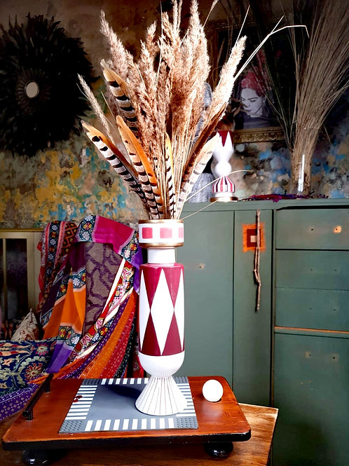 Tall Geometric Red & Gold Vase