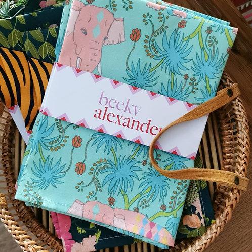 Pink elephant tea towel