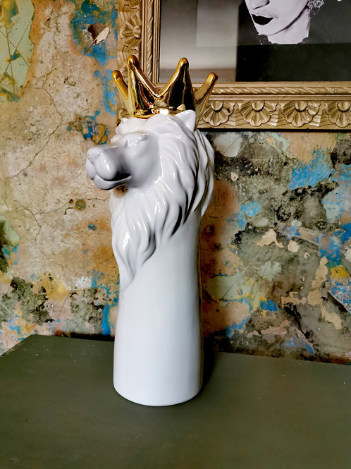 Tall Crowned Lion Vase