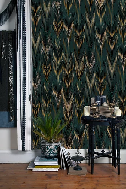 Thea wallpaper in palm green