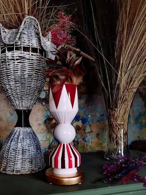 Short Geometric Red & Gold Vase