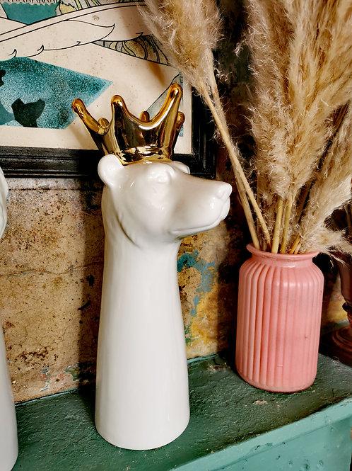 Tall Crowned Bear Vase