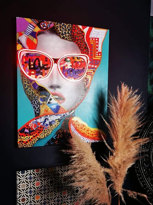 """""""Chic Woman"""" Wall Art with Neon Lights"""