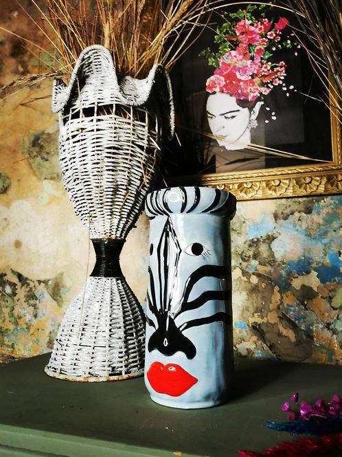 Baby Blue Zebra Vase