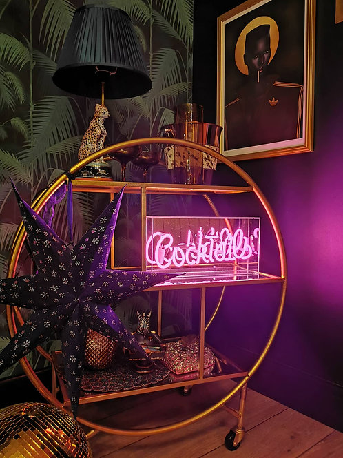 """Cocktails"" Neon Acrylic Box Light in Pink"