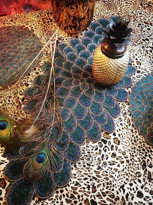 Artisan Made Peacock Beaded Table Runner