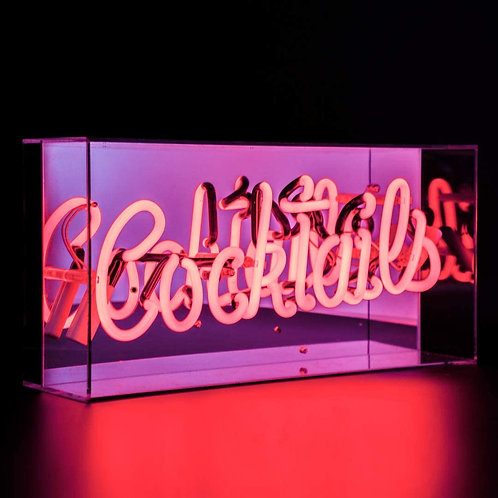"""""""Cocktails"""" Acrylic Box Neon Light in Red"""