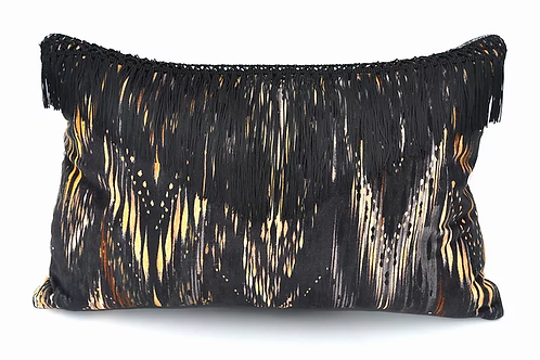 Thea velvet cushion in lacquer black