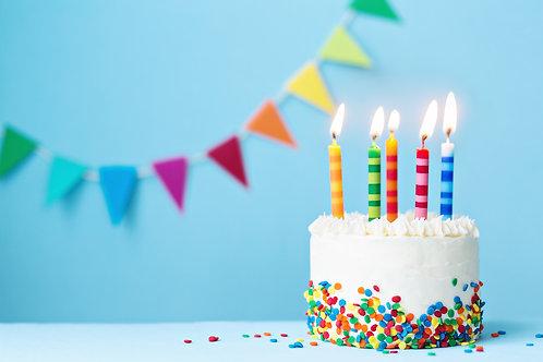 Vanilla Happy Birthday Cake Fondant, Large, 16-20p