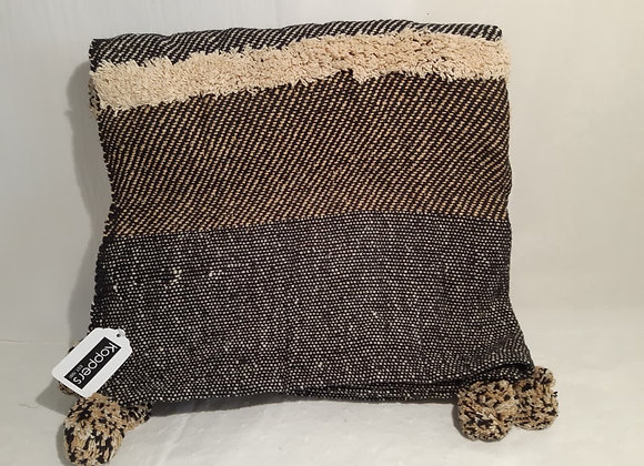 Cotton Throw - Black and Beige