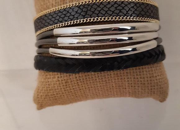 Black Bracelet Metal Accents Magnetic