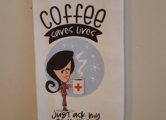 Tea Towel-Coffee saves lives