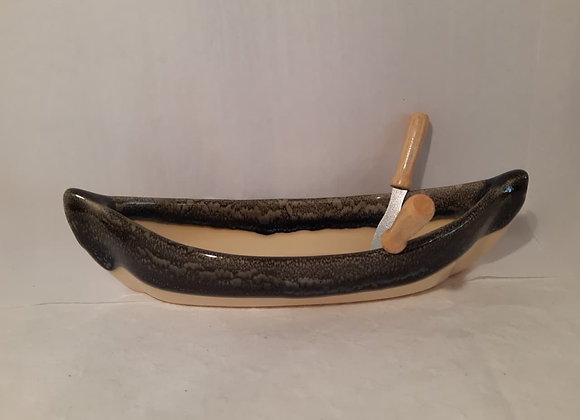 Canoe Dip Pot - Cream & Charcoal
