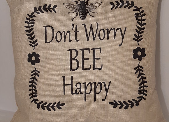 "Positive themed Bee Cushions - ""Don't Worry Bee Happy"""