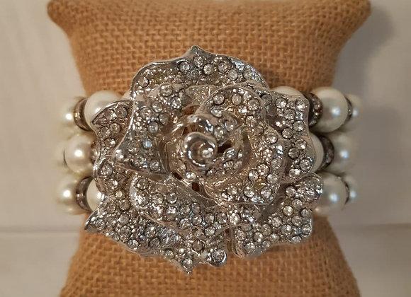 Stretch Rhinestone Rose and Pearl Bracelet