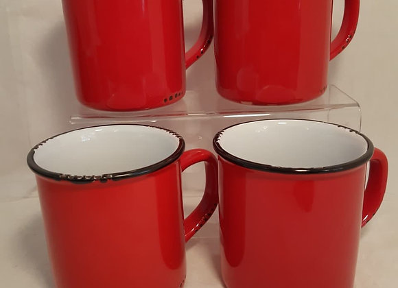 Vintage Style Ceramic Mugs - red