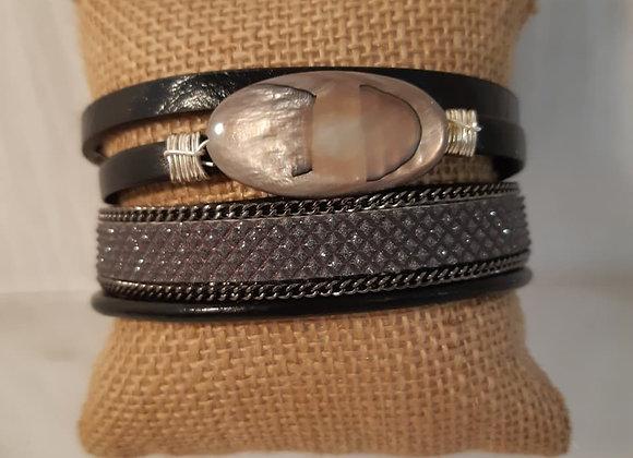 Magnetic Black with Grey Stone Bracelet