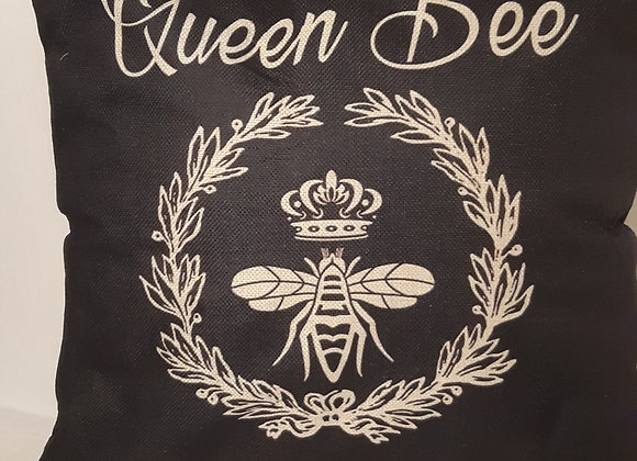 """Positive themed Bee Cushions - """"Queen Bee"""""""
