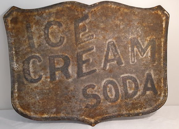 Vintage Inspired Metal Ice Cream Soda Sign