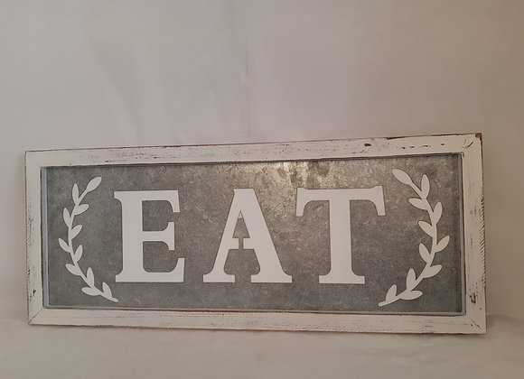 EAT Sign-Metal & Wood