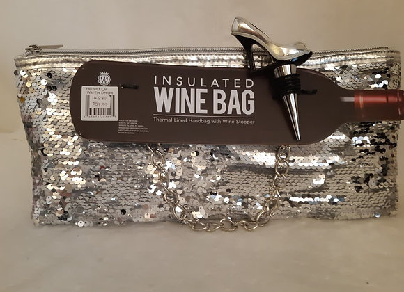 Insulated Wine Bag - Silver Sequin