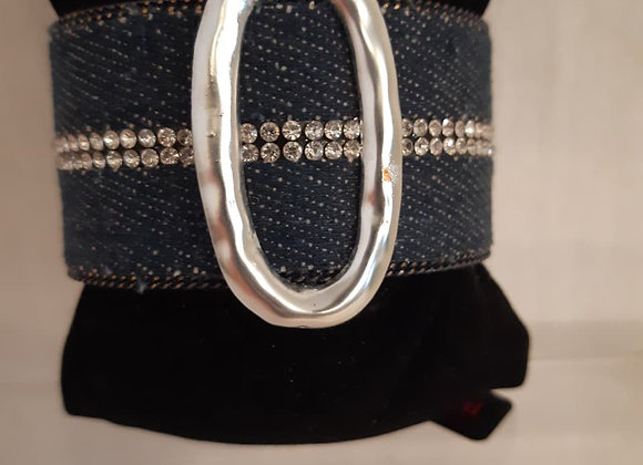 Denim Rhinestone Silver Oval Bracelet