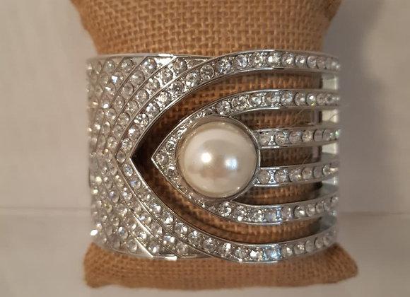Jacqueline Kent Hinged Pearl & Rhinestone Bracelet