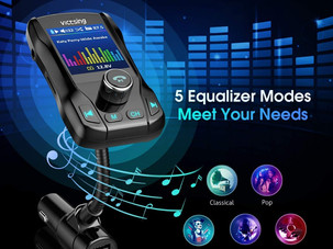 VicTsing Color Display Bluetooth FM Transmitter for Car, Wireless Bluetooth Car Adapter with EQ
